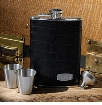 Executive Black Leather Flask Set With Silver Shot Glasses GC901