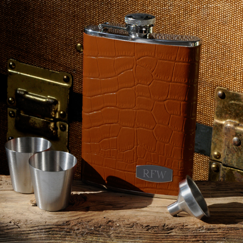 Luxurious Tan Leather Flask Set With Silver Shot Glasses