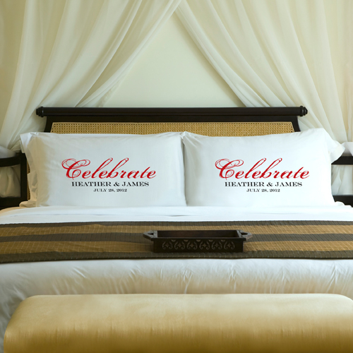Custom Printed Wedding Celebration Pillow Case Set GC910celebrate