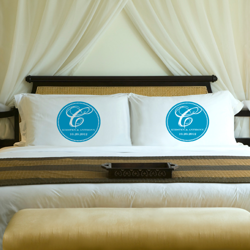 Custom Printed Magical Monogram Wedding Pillow Case Set GC910magical