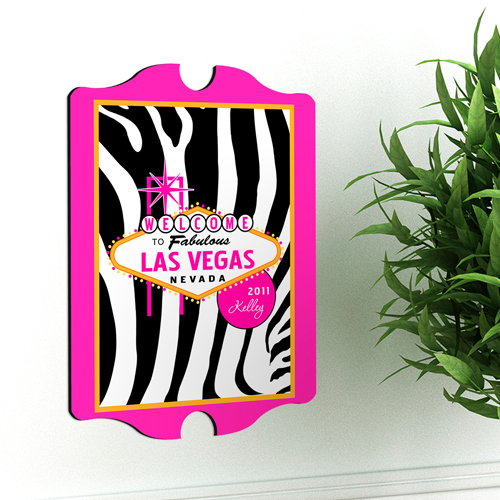 Pink Accented Las Vegas Custom Vintage Sign GC914