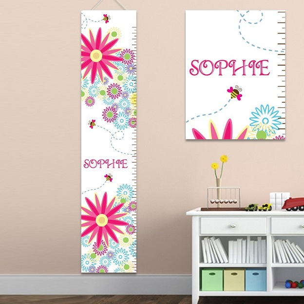 Personalized Growing Girls Height Chart Canvas GC925girls