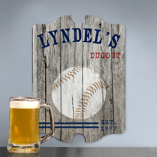 Custom Vintage Wood Sports Pub Sign Personalize At