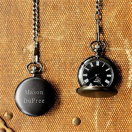 Engraved Black Finish Pocket Watch GC938