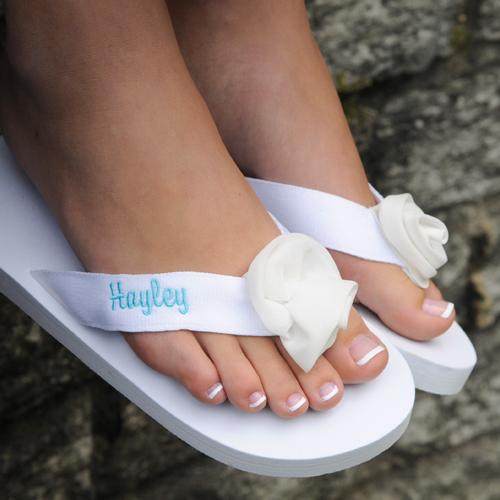 Personalized White Wedding Flip Flop Sandals
