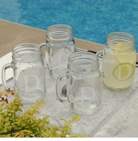 Classic Monogram 16oz Jar Glass Set Of 4 GC942