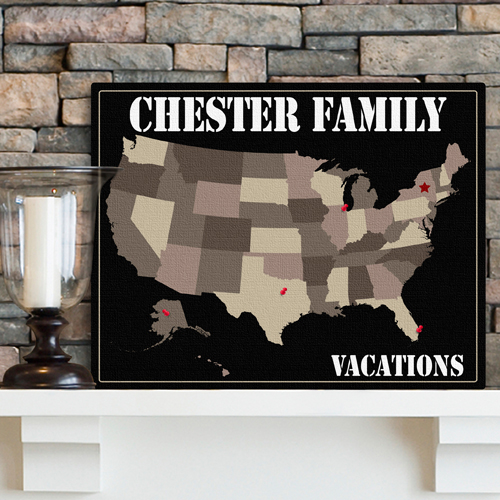 Custom Family Vacation Earth Tones Travel Canvas Map GC947earth