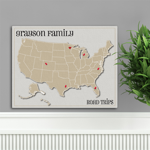 Custom Family Vacation Heart At Home Travel Canvas Map