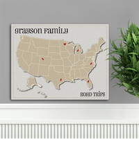 Family Vacation Heart At Home Travel Canvas Map GC947heart