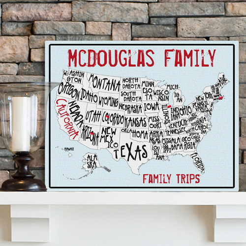 Custom Family Vacation Sea To Shining Sea Travel Canvas Map GC947sea