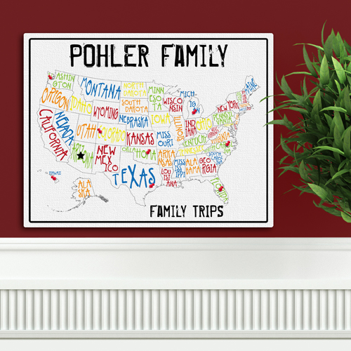 Custom Family Vacation Spectrum Travel Canvas Map GC947spectrum