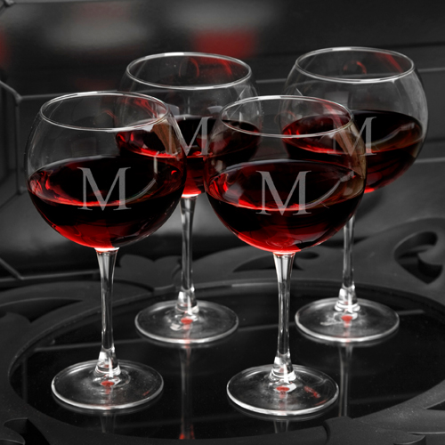 Set Of 4 Personalized Red Wine 18oz Glasses GC950