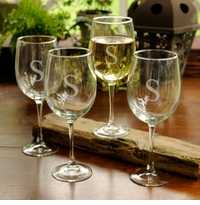 Personalized 19oz Classic White Wine 4 Glass Set GC951