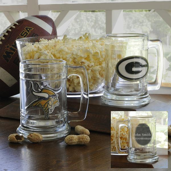 NFL Team Glass Mug With Engraved Pewter Medallion GC957