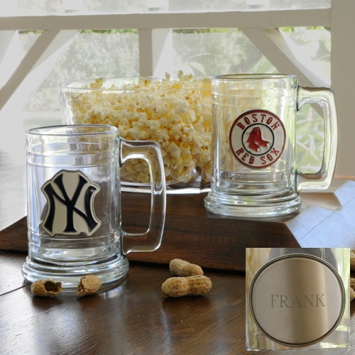MLB Team Glass Mug With Engraved Pewter Medallion
