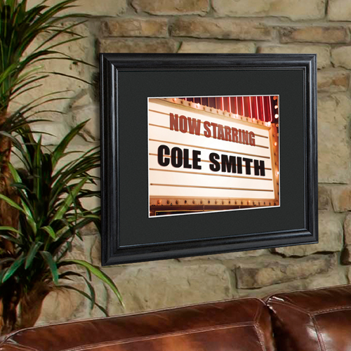 Theater Marquee Personalized Print and Black Frame