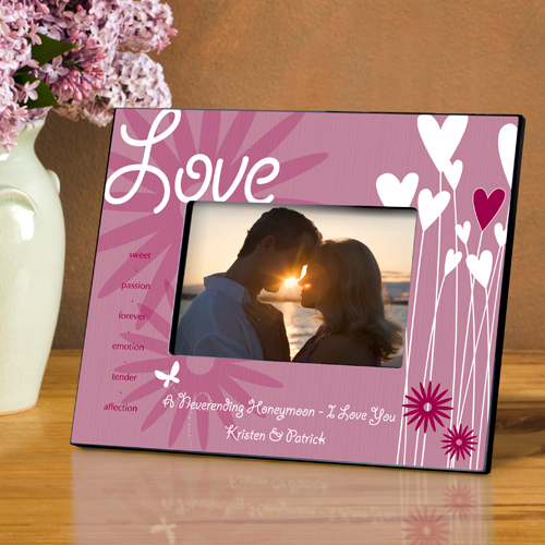 Personalized Hearts and Flowers Frame With Love