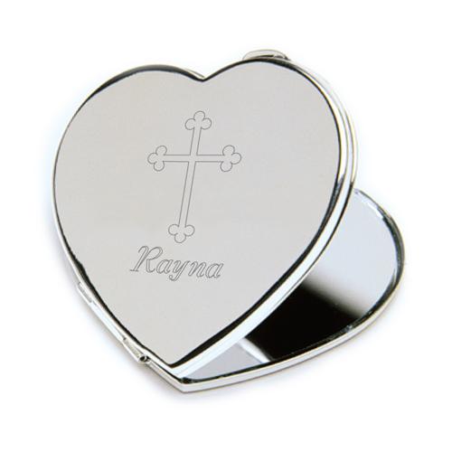 Engraved Cross Keepsake Heart Compact Mirror