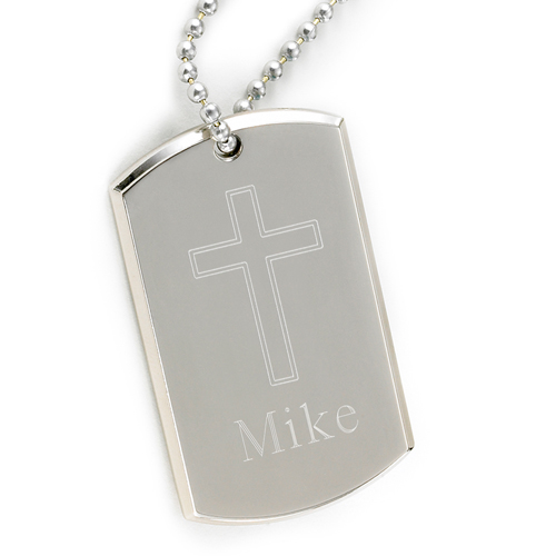 Engraved Cross Silver Nickel Large Dog Tag
