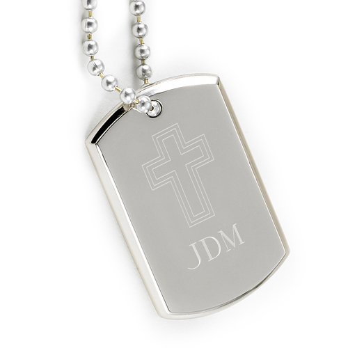 Engraved Cross Silver Nickel Small Dog Tag