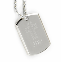Engraved Cross Silver Nickel Small Dog Tag GC968