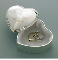 Engraved Cross Precious Heart Trinket Box GC971