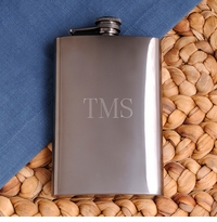 Engraved Stainless 8oz Steel Gunmetal Flask GC972