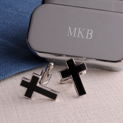 Holy Cross Cufflinks With Personalized Keepsake Box