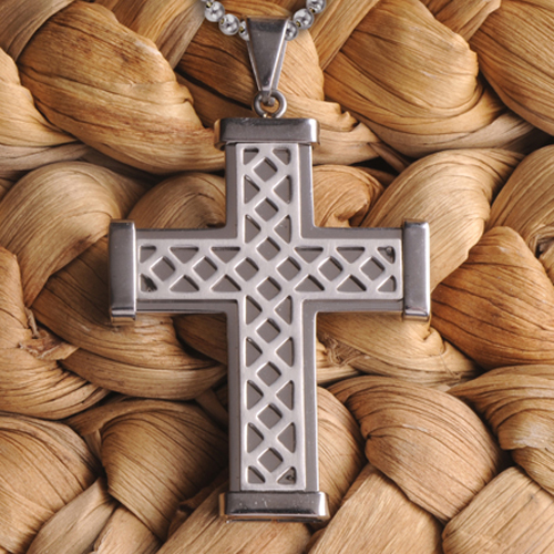 Engraved Silver Stainless Steel Weave Cross Necklace