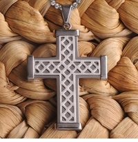Engraved Silver Stainless Steel Weave Cross Necklace GC979