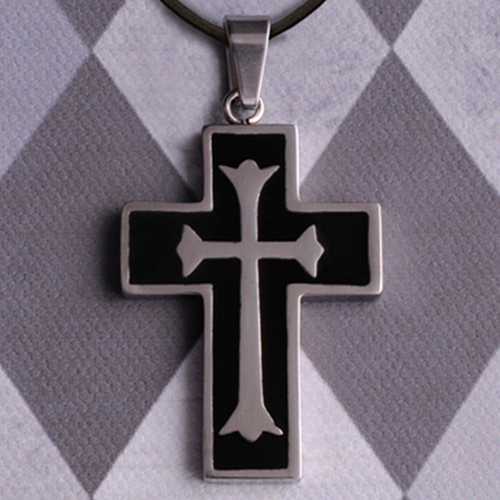 Engraved Cross Necklace With Black Inlay GC980