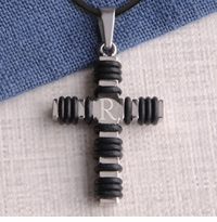 Engraved Black Wrapped Cross Necklace GC984