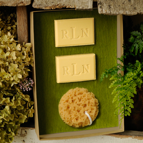 Custom Green Tea and Olive Oil Soap Set With Loofa Sponge GC986