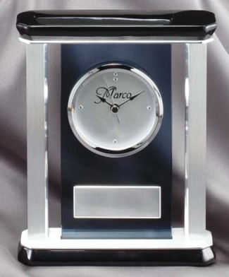 Executive Brushed Silver Desk Clock GK37