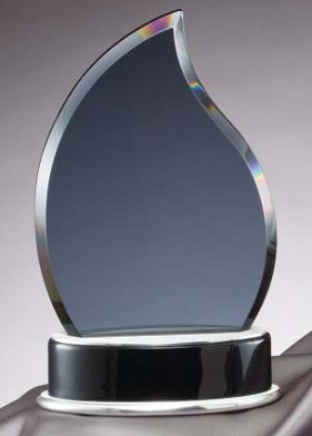 Flame Shaped Smoked Glass Awards