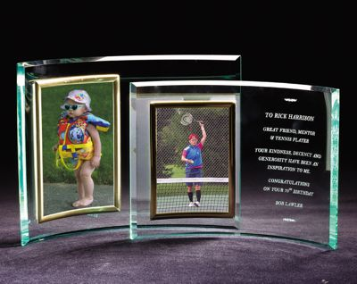 Engraved Vertical Glass Crescent Picture Frame GL315