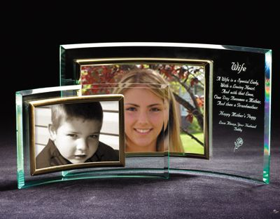 Engraved Horizontal Glass Crescent Picture Frame Personalize At