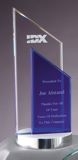 Double Tower Glass Award With Silver Metal Base GL38