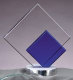 Double Diamond Glass Award With Silver Metal Base GL39