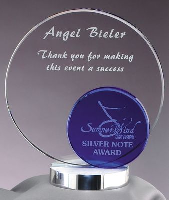 Double Round Glass Award With Silver Metal Base GL40