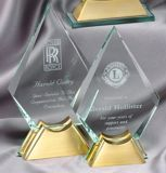 Diamond Glass Award With Gold Metal Base GL42