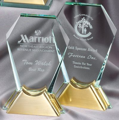 Hexagon Glass Award With Gold Metal Base