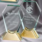 Hexagon Glass Award With Gold Metal Base GL46