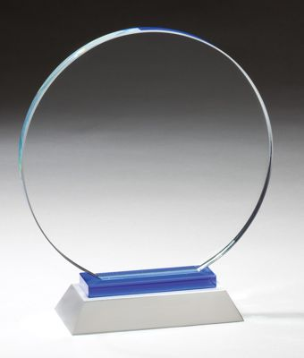 Round Glass Award With Silver Metal Base GL56