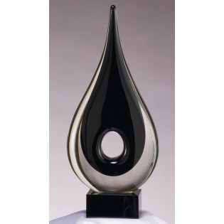 Black Raindrop Shaped Glass Art Sculpture GLSC32
