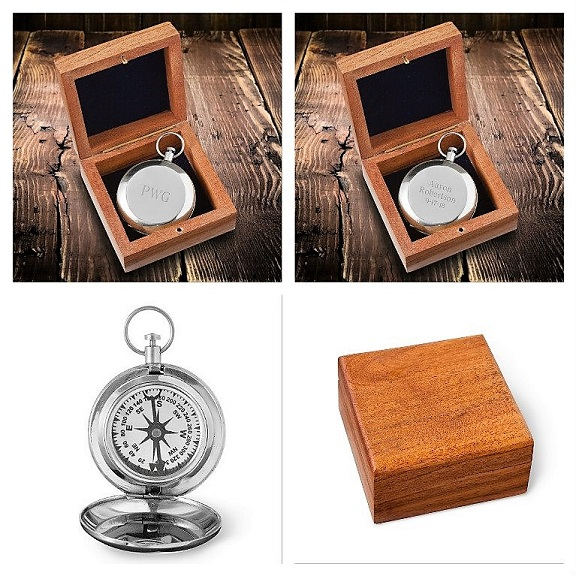 Engraved Metal Finish Hikers Guide Compass JDS-COMPASS