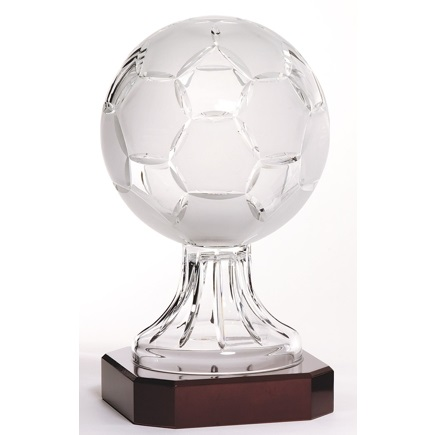 Engraved Lead Crystal Soccer Ball Trophy LC50A