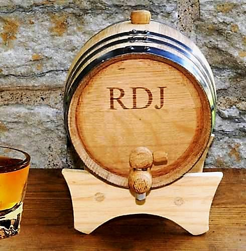 Wood Engraved Mini Oak Whiskey Barrel