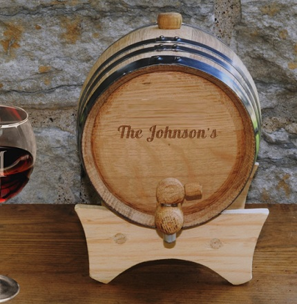 Wood Engraved Mini Oak Wine Barrel OAKWINE755