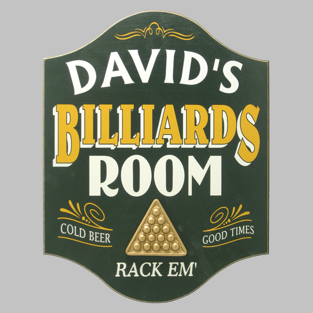 Custom Silk Screened Billiards Room Sign OBC-4262